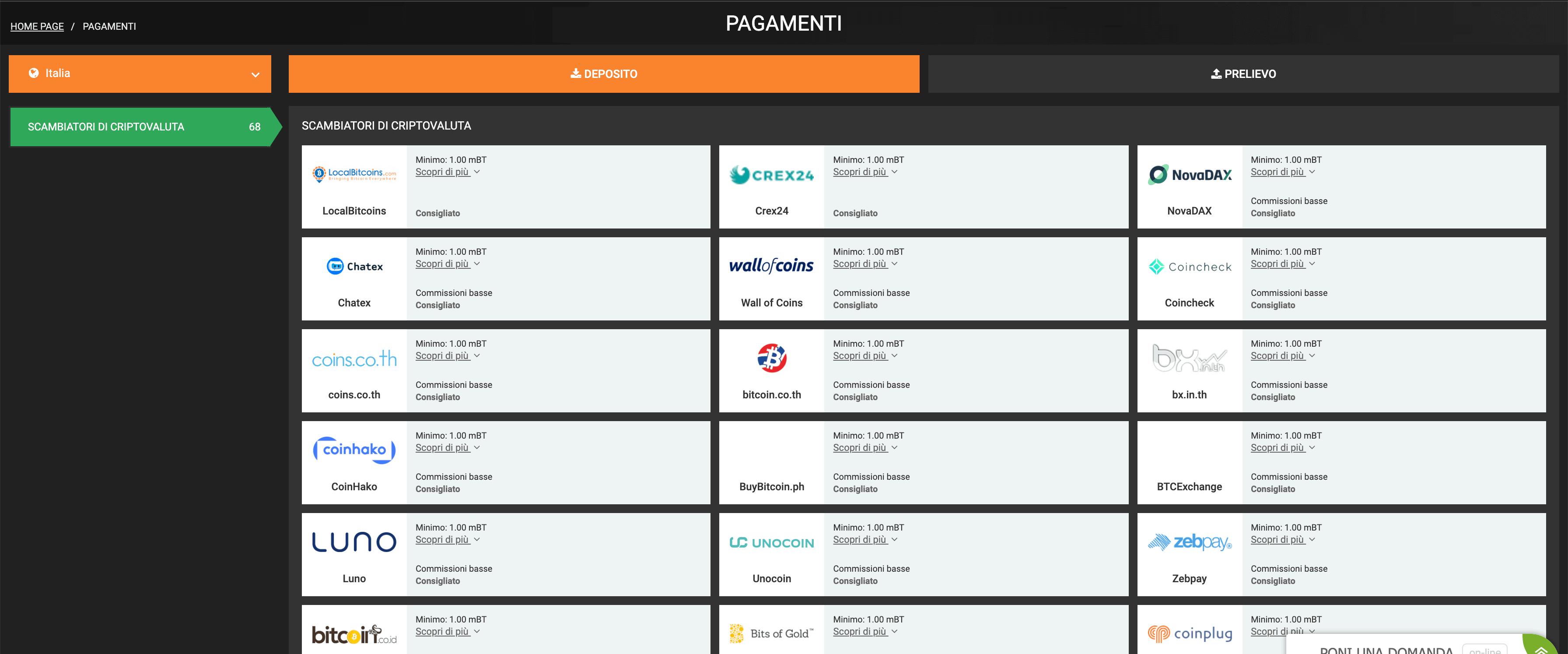 scommesse sportiva deposito bitcoin)